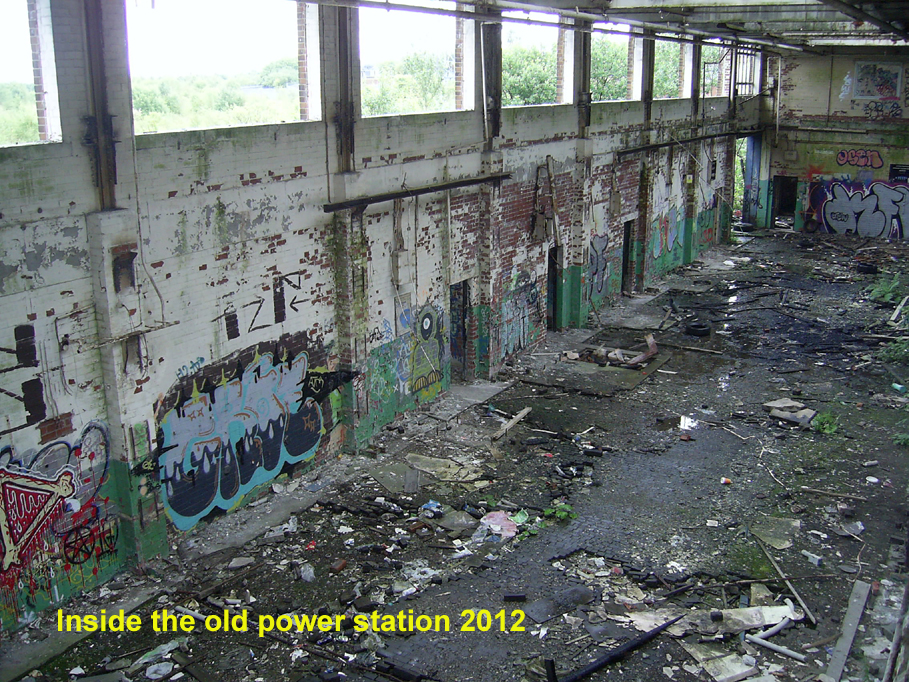 Inside derelict power station