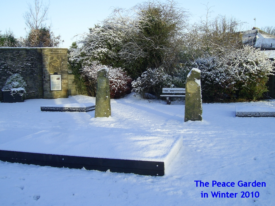 peace garden in winter